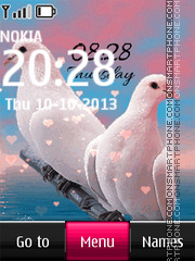Dove Love Digital Clock theme screenshot