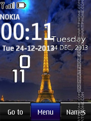 Eiffel Tower Live Clock theme screenshot
