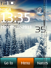 Скриншот темы Snow in Alps Live Clock