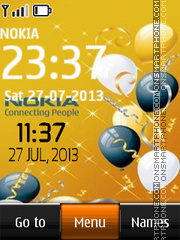 Nokia Ballon Digital Clock tema screenshot