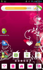 Valentines Pink Hearts tema screenshot