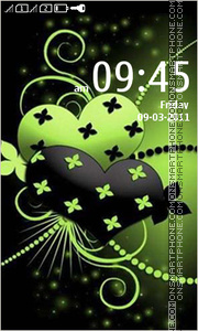 Green Black Abstract Hearts theme screenshot