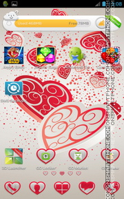 Falling Hearts tema screenshot