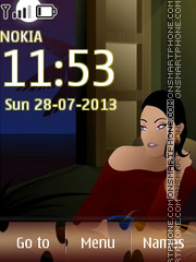 Vector Girl at Sofa theme screenshot