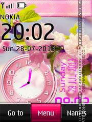 Pink flower dual clock 01 theme screenshot