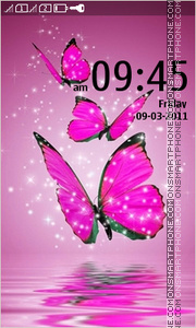 Pink Butterflies 01 theme screenshot
