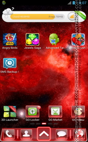 Red Space Fusion Go launcher theme screenshot