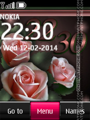 Rose Digital Clock theme screenshot