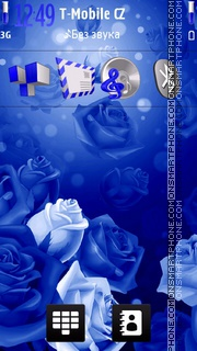 Blue Neon Roses tema screenshot