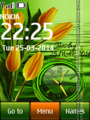 Tulips Dual Clock theme screenshot