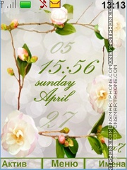 Flower with Green Clock theme screenshot
