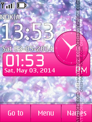 Cristal Pink Asha Clock tema screenshot