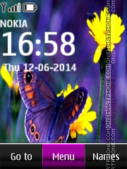 Summer Butterfly Clock theme screenshot