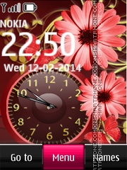 Flower and Brown Dual Clock es el tema de pantalla