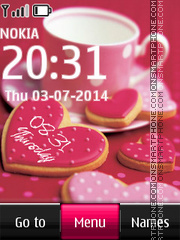 Love Cookies Digital Clock theme screenshot