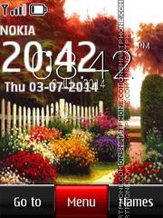 Garden with Perennial Flowers Clock es el tema de pantalla