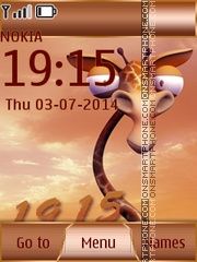 Giraffe With Clock theme screenshot