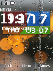 Water Drops Clock 03 theme screenshot
