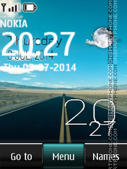 Highway with Clock theme screenshot