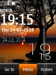 Sunset Digital Clock 06 theme screenshot