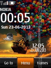 Flying House Clock theme screenshot