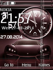 Ferrari with Analog Clock Theme-Screenshot