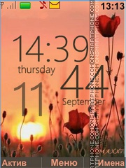 Poppies Sunset tema screenshot