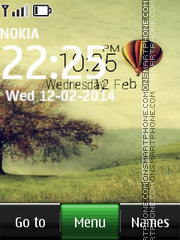 Air Balloon with digital clock theme screenshot