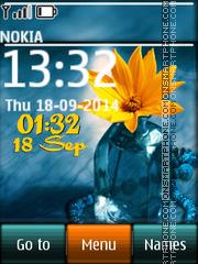 Flower digital clock 02 theme screenshot
