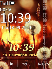 Dandelions with Clock theme screenshot