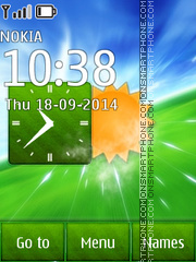 Green Nature Clock 01 theme screenshot