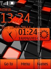 Orange tile clock es el tema de pantalla