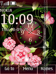 Floral Clock 01 theme screenshot