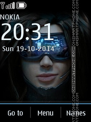 Cyberpunk girl tema screenshot