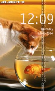 Скриншот темы Cat Looking at Fish