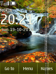 Waterfall in autumn tema screenshot