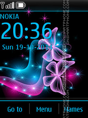Neon Butterflies 01 theme screenshot