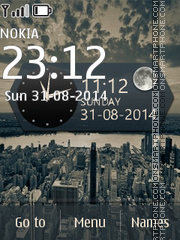 CityScapes with Clock and Date es el tema de pantalla
