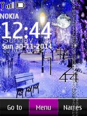 Evening Snow Clock theme screenshot