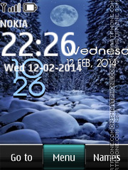 Winter Moon Digital Clock theme screenshot