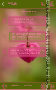 Pink Heart GO SMS THEME theme screenshot