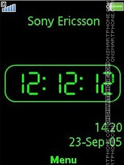 Black Green clock theme screenshot
