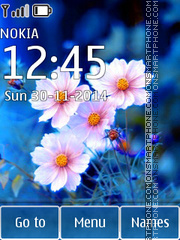 White Flowers on Blue theme screenshot
