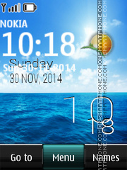 Ocean Digital Clock theme screenshot