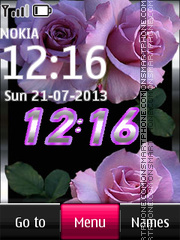 Скриншот темы Pink Roses with Digital Clock