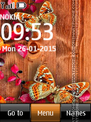 Butterflies on Wood Table tema screenshot