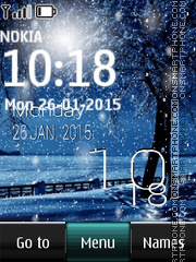 Winter Snowfall Digital Clock es el tema de pantalla