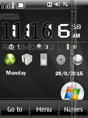 Windows 7 and Dark Clock Theme-Screenshot