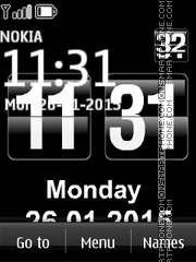 Black Digital Clock theme screenshot