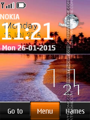 Sunset Digital Clock 240x320 theme screenshot